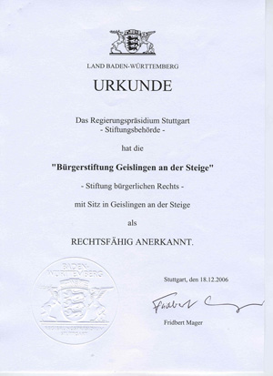 Stiftungsurkunde der Bürgerstiftung Geislingen